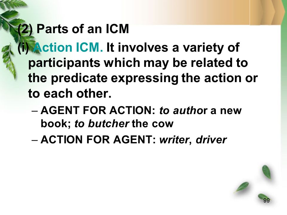 (2) Parts of an ICM