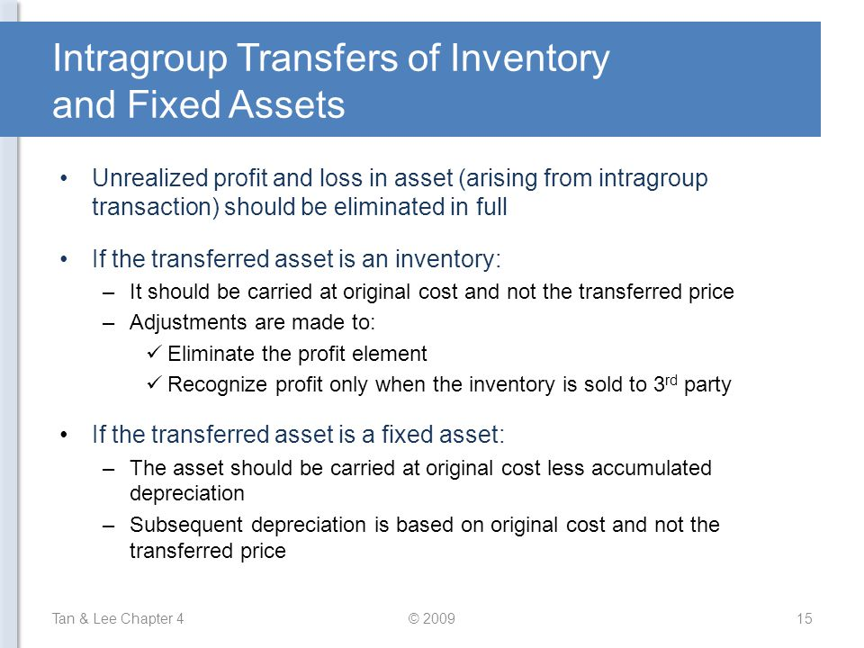 Intragroup Transfers of Inventory and Fixed Assets