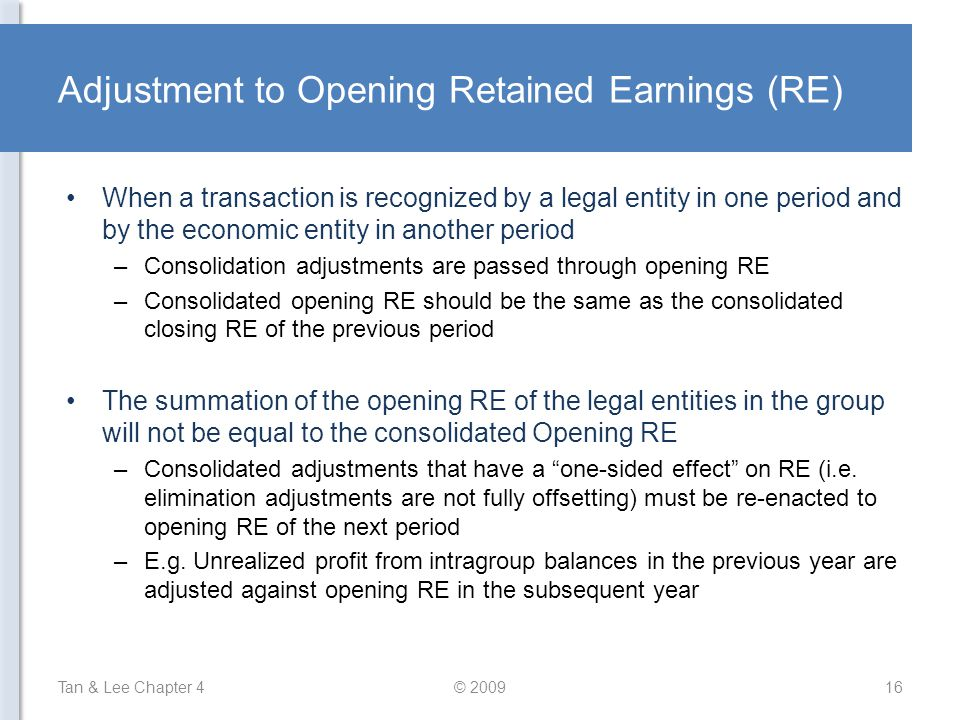 Adjustment to Opening Retained Earnings (RE)