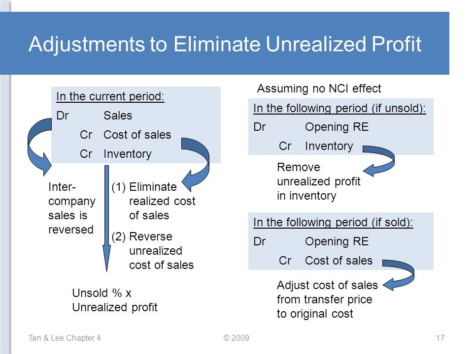 Adjustments to Eliminate Unrealized Profit
