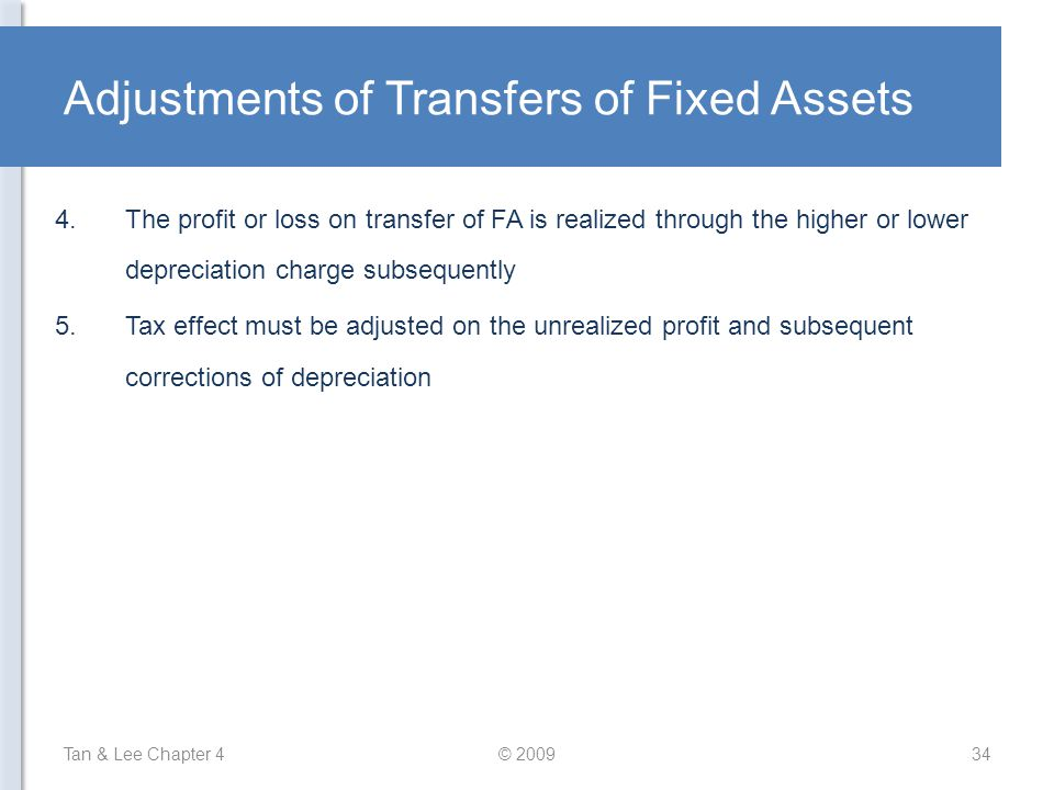 Adjustments of Transfers of Fixed Assets