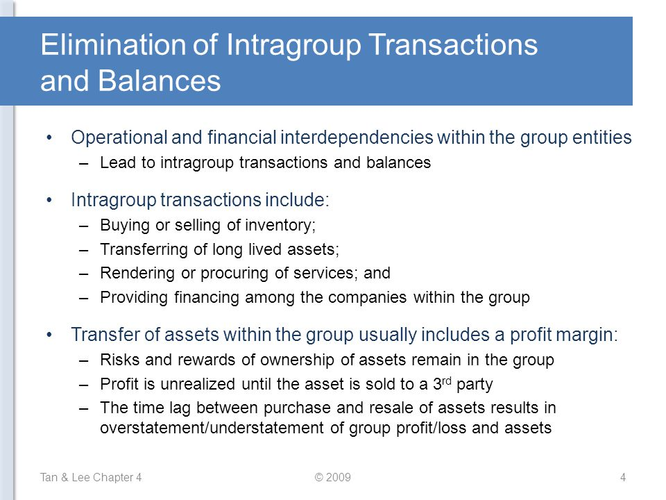 Elimination of Intragroup Transactions and Balances