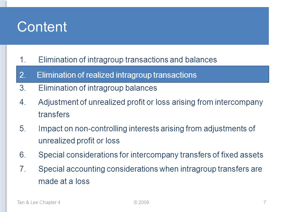Content Elimination of intragroup transactions and balances