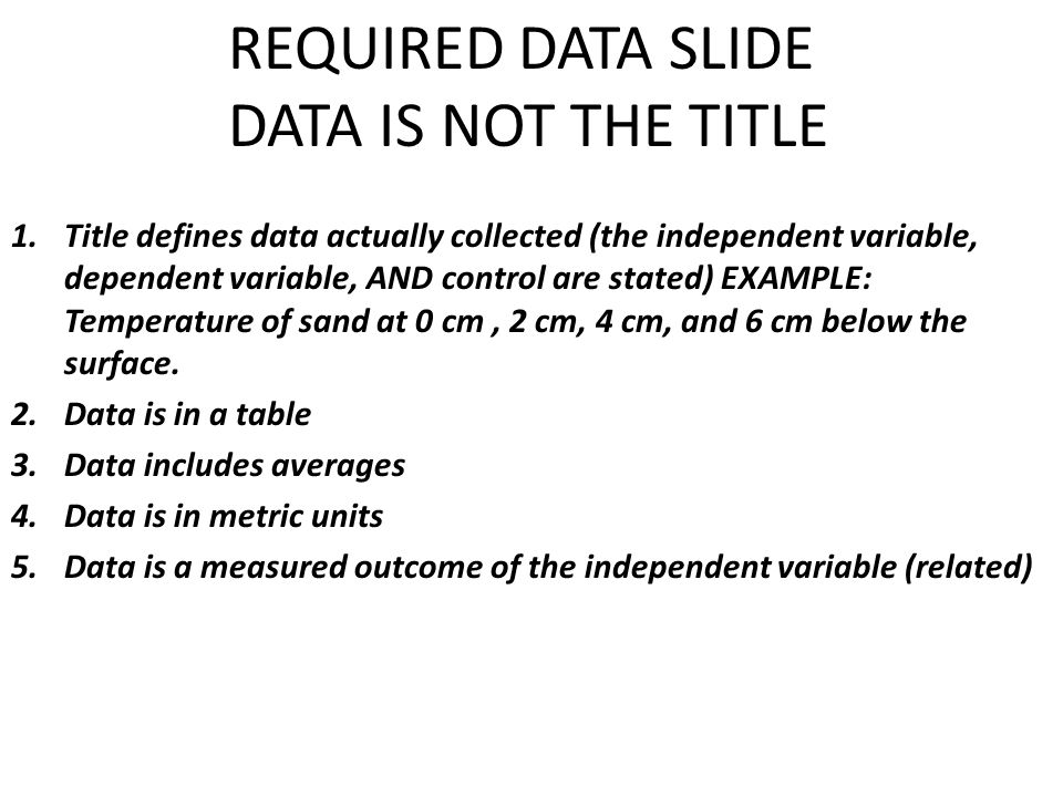REQUIRED DATA SLIDE DATA IS NOT THE TITLE