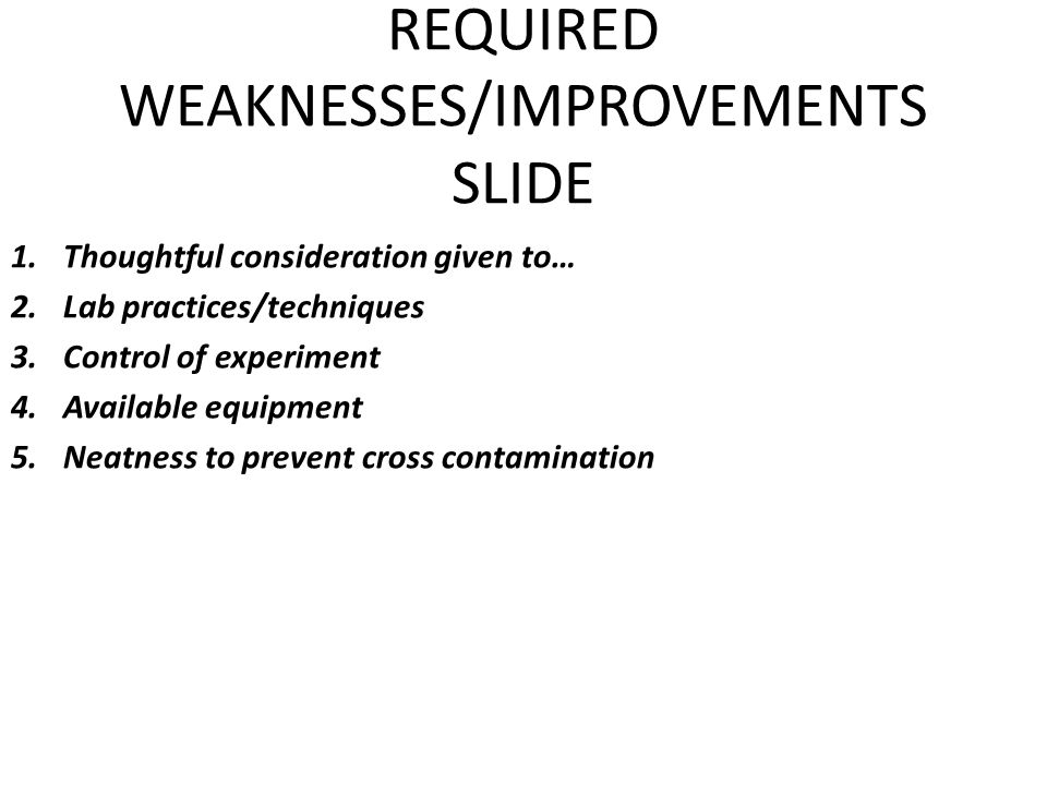 REQUIRED WEAKNESSES/IMPROVEMENTS SLIDE