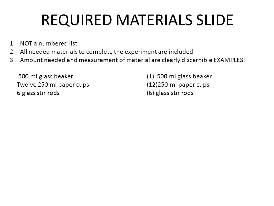 REQUIRED MATERIALS SLIDE