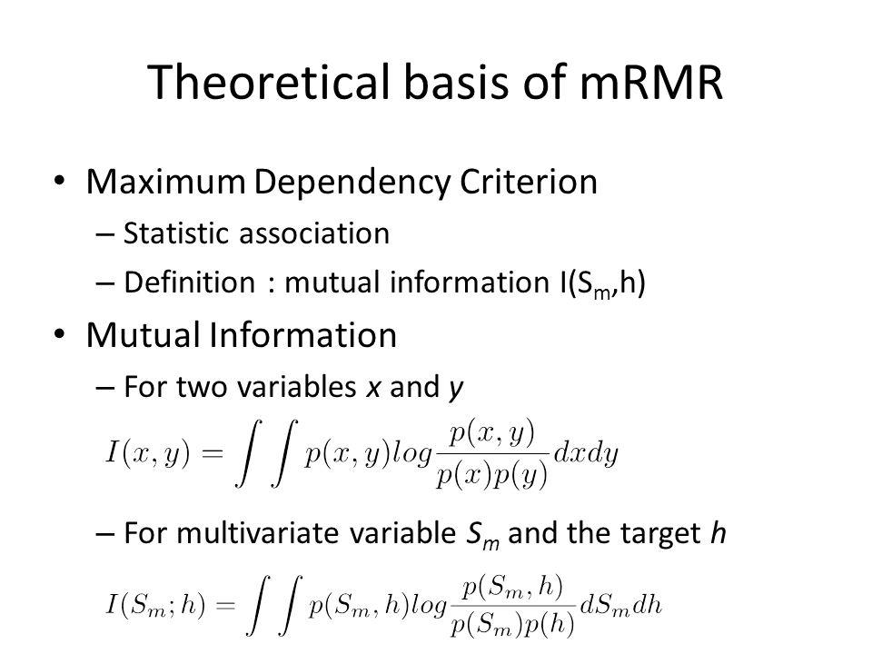 Theoretical basis of mRMR