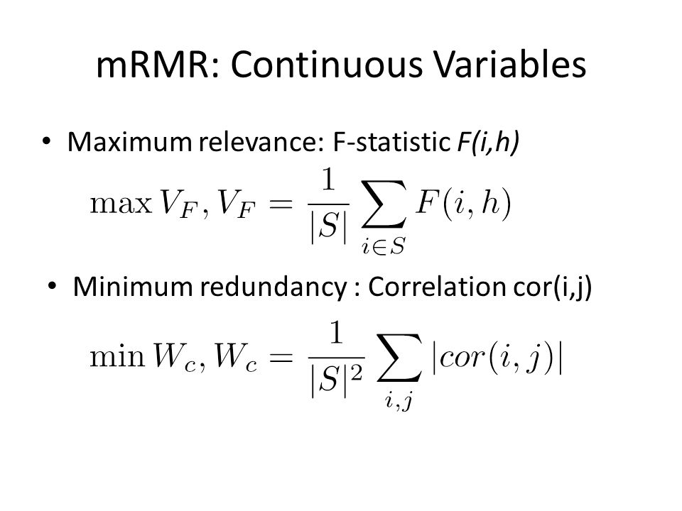 mRMR: Continuous Variables