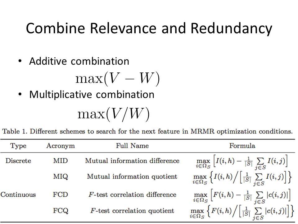 Combine Relevance and Redundancy