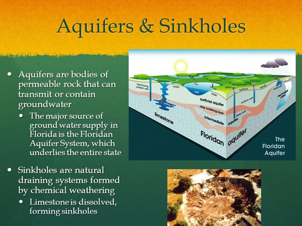 Aquifers & Sinkholes Aquifers are bodies of permeable rock that can transmit or contain groundwater.
