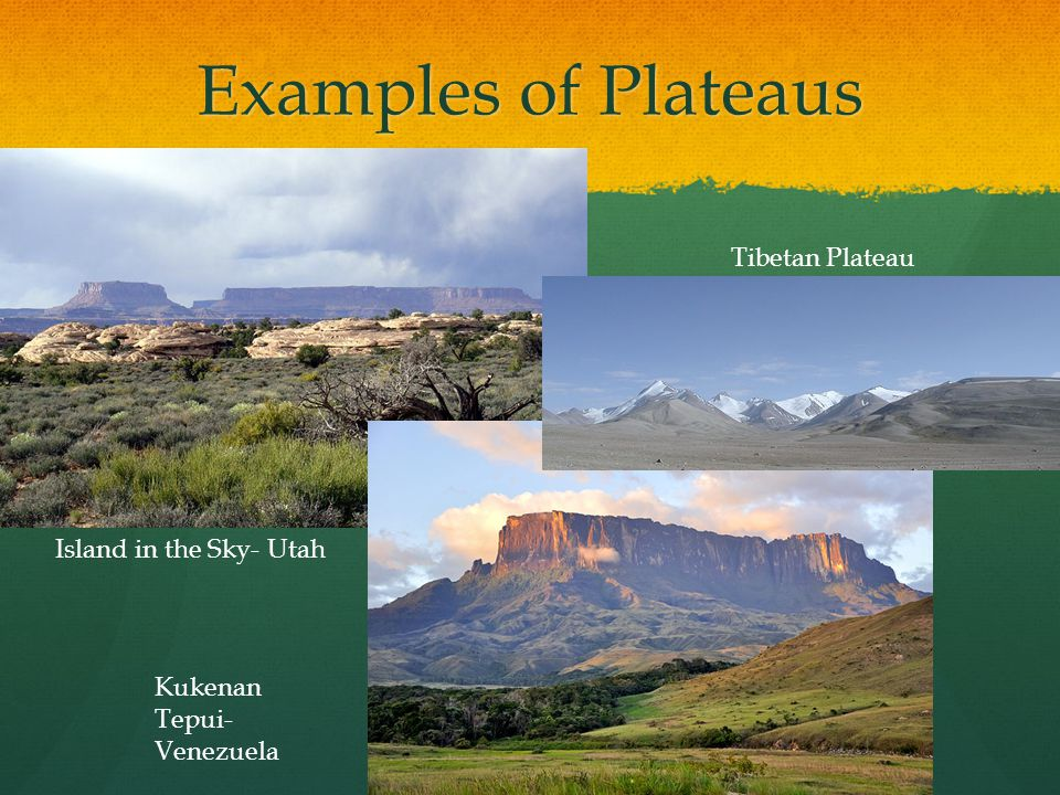 Examples of Plateaus Tibetan Plateau Island in the Sky- Utah