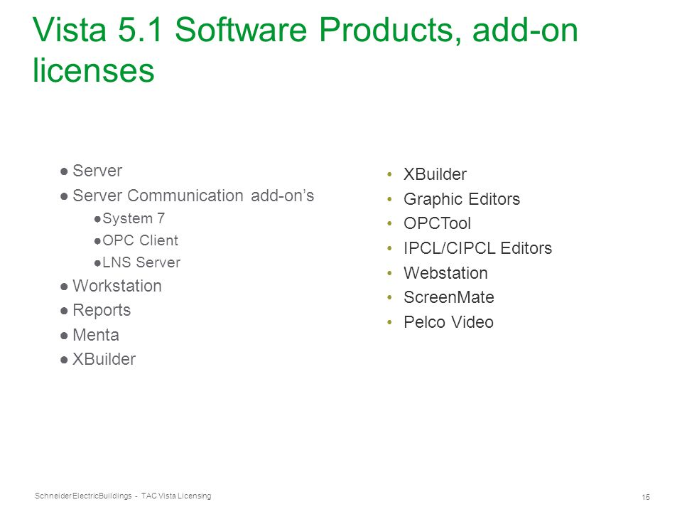 Vista 5.1 Software Products, add-on licenses