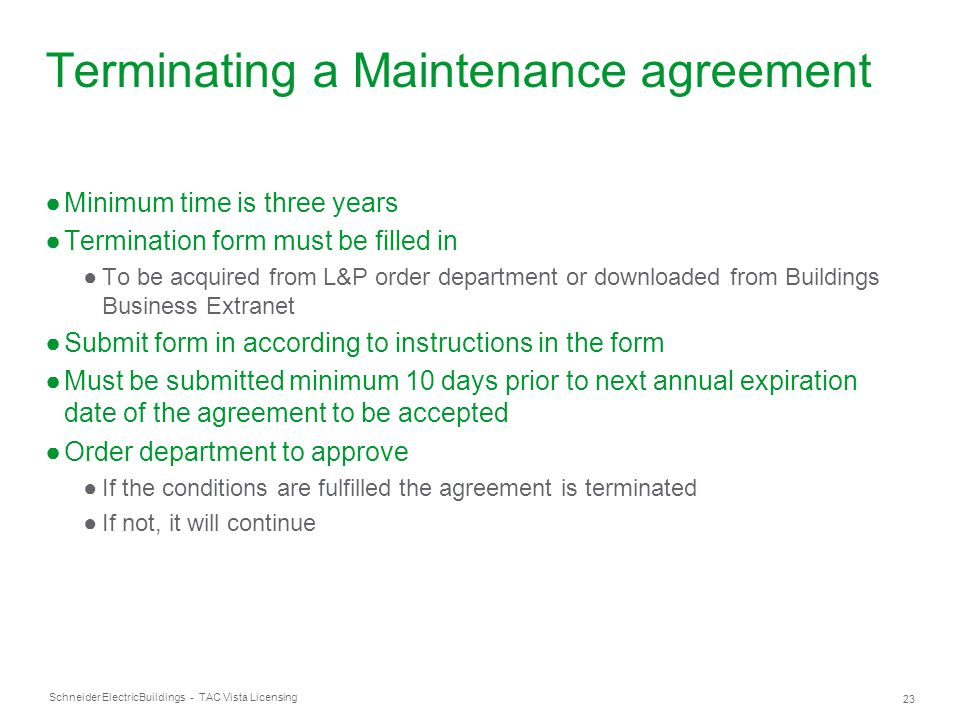 Terminating a Maintenance agreement