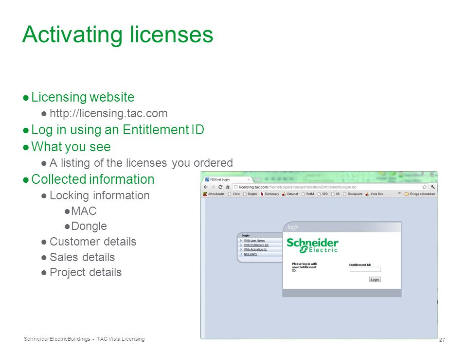 Activating licenses Licensing website Log in using an Entitlement ID
