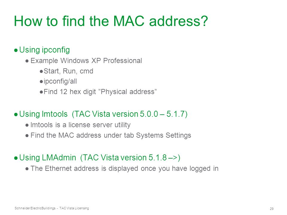 How to find the MAC address