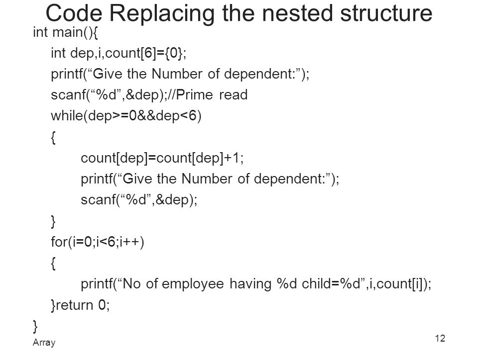Code Replacing the nested structure