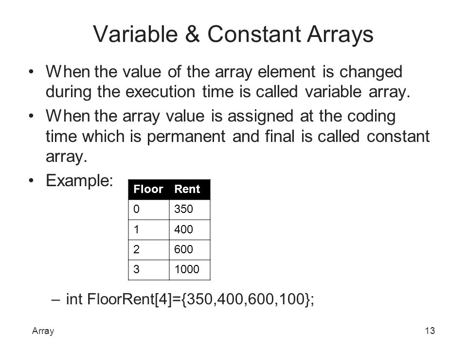 Variable & Constant Arrays