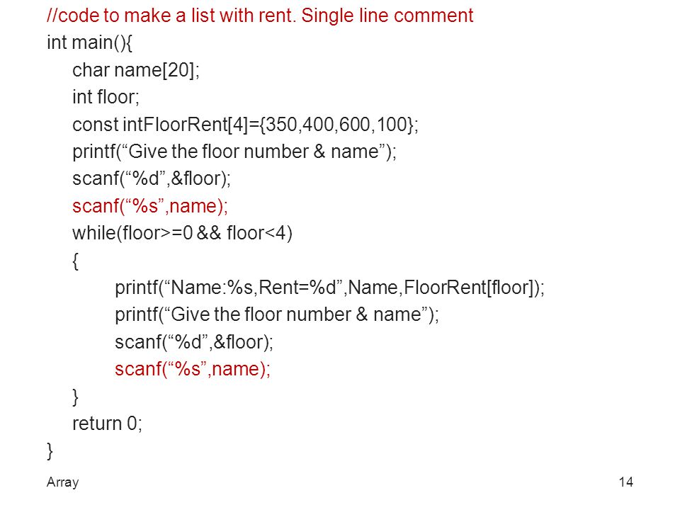 //code to make a list with rent