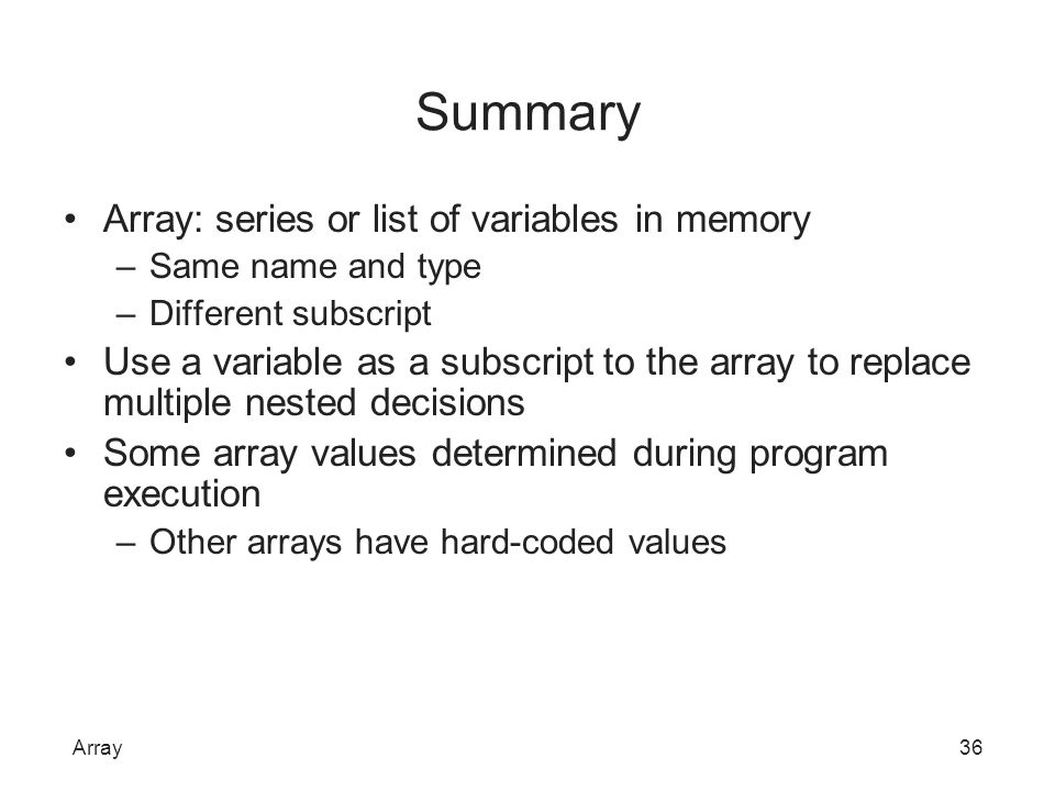 Summary Array: series or list of variables in memory