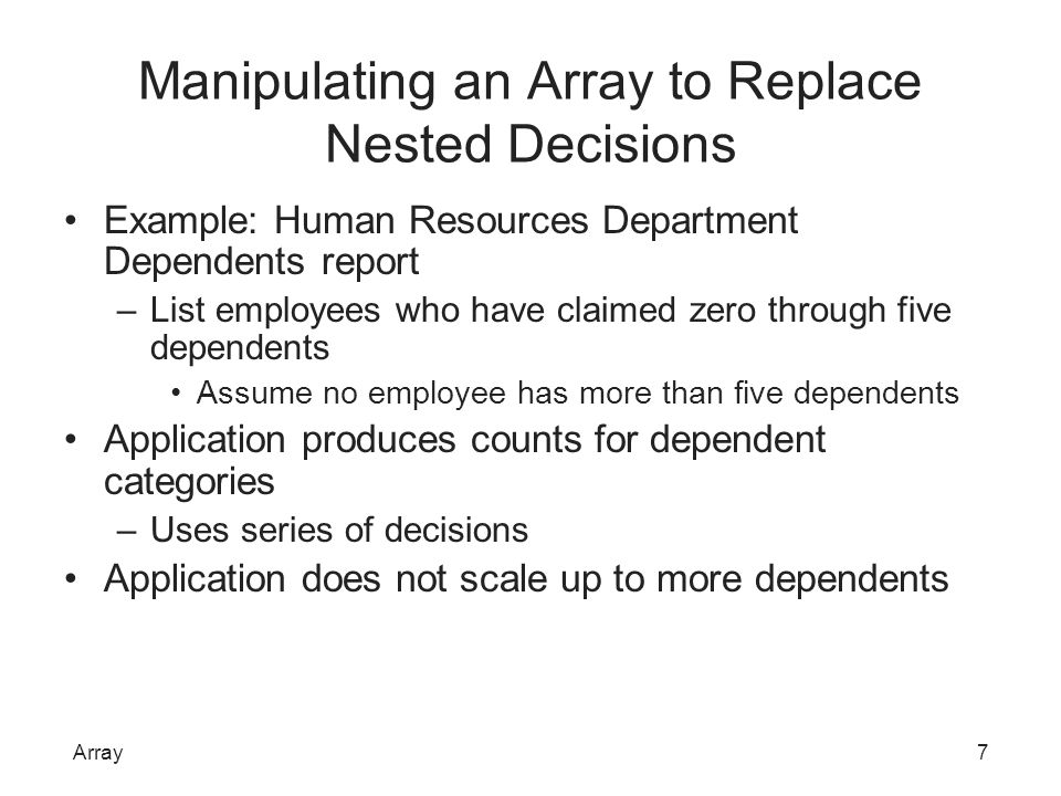 Manipulating an Array to Replace Nested Decisions