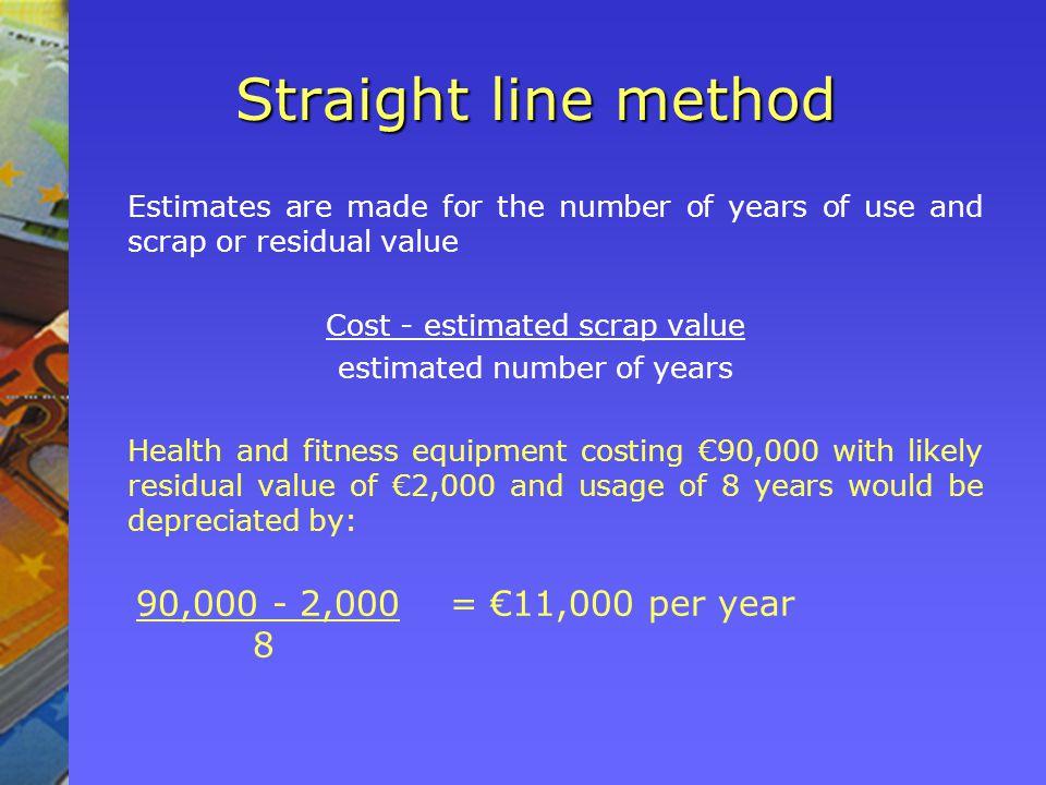 Straight line method 90,000 - 2,000 = €11,000 per year 8