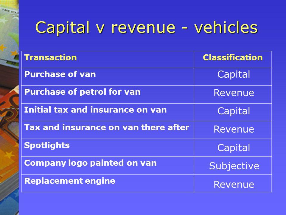Capital v revenue - vehicles