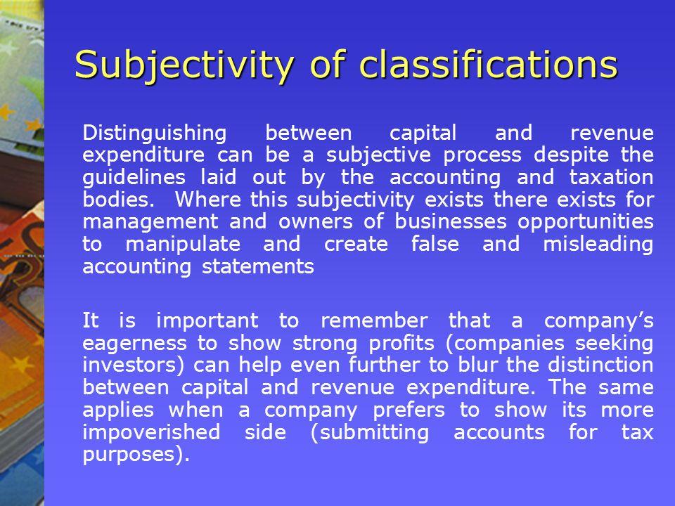 Subjectivity of classifications