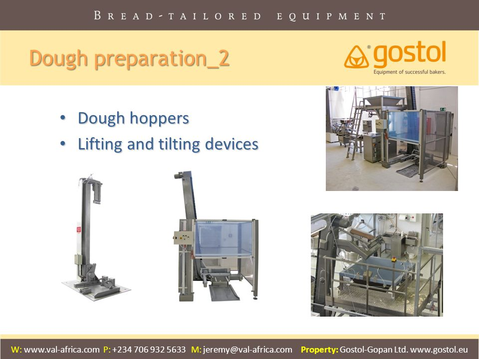 Dough preparation_2 Dough hoppers Lifting and tilting devices