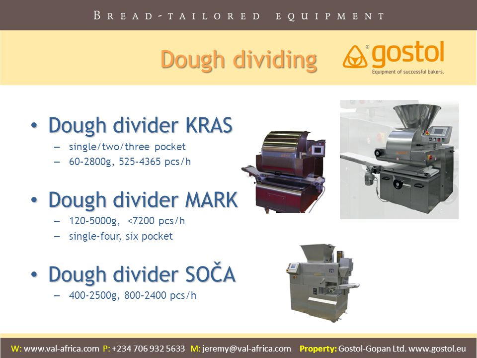 Dough dividing Dough divider KRAS Dough divider MARK