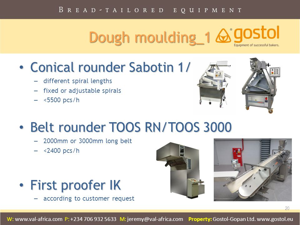 Dough moulding_1 Conical rounder Sabotin 1/2/3