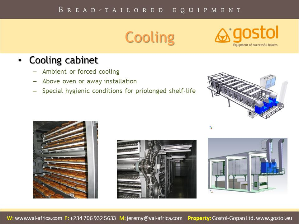 Cooling Cooling cabinet Ambient or forced cooling