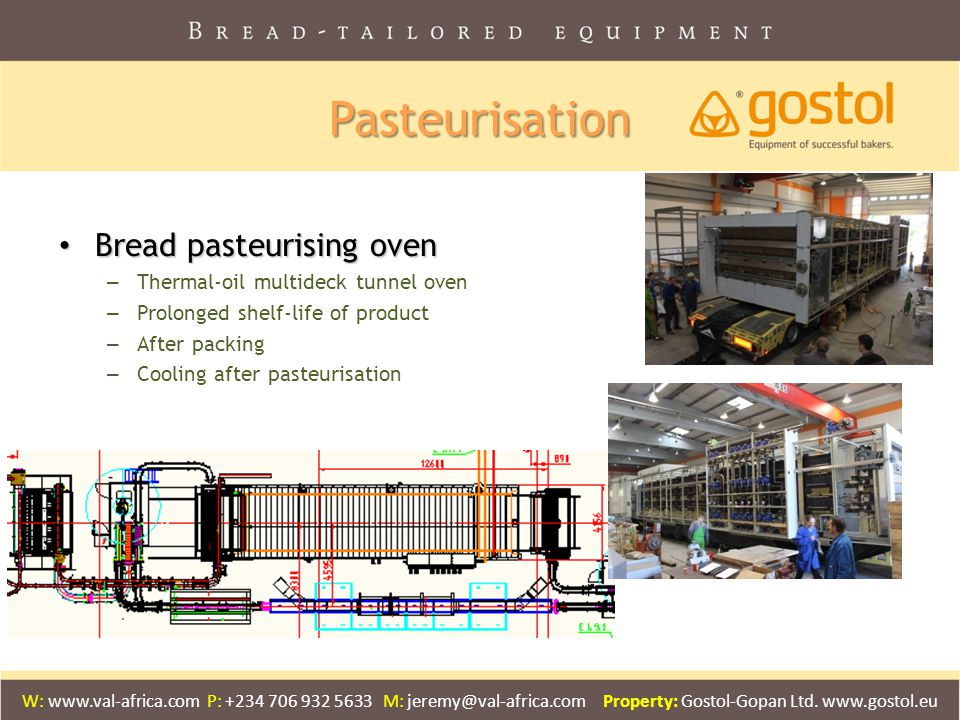 Pasteurisation Bread pasteurising oven