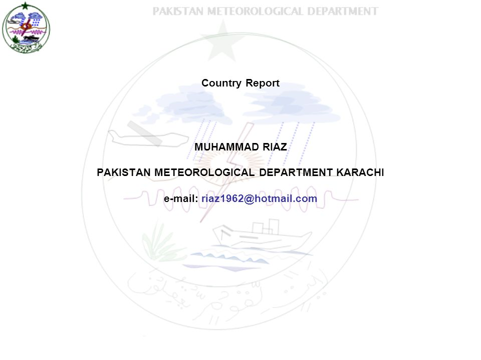 PAKISTAN METEOROLOGICAL DEPARTMENT KARACHI