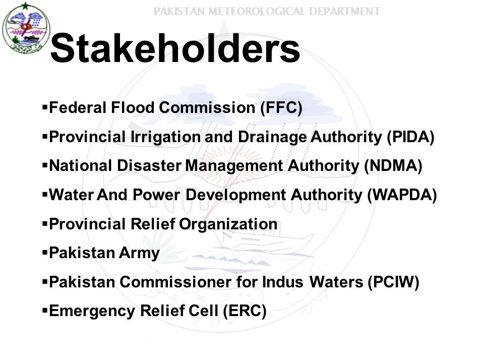 Stakeholders Federal Flood Commission (FFC)