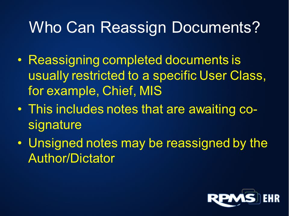 Who Can Reassign Documents