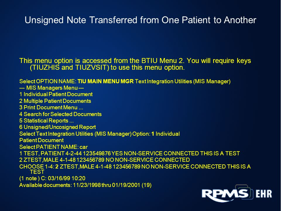 Unsigned Note Transferred from One Patient to Another