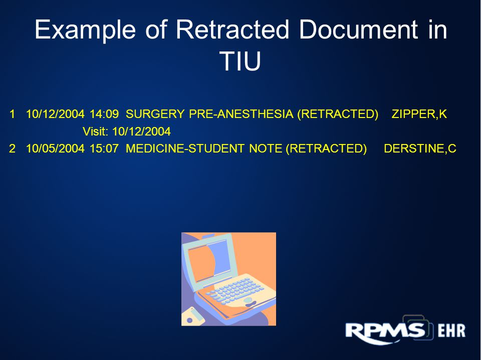 Example of Retracted Document in TIU
