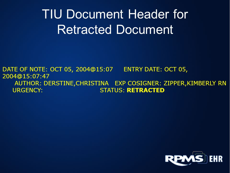 TIU Document Header for Retracted Document