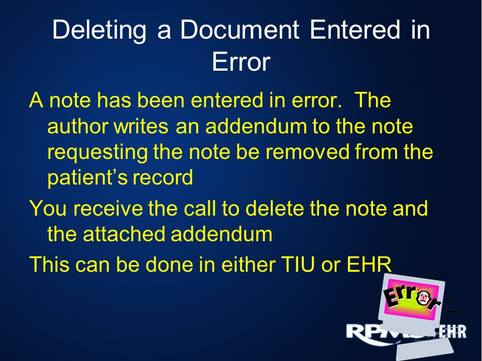 Deleting a Document Entered in Error