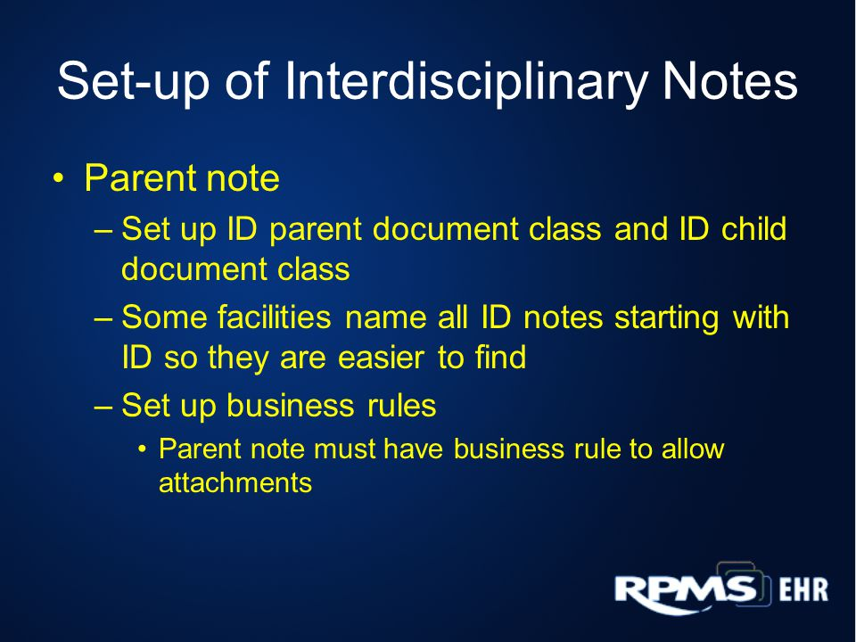 Set-up of Interdisciplinary Notes