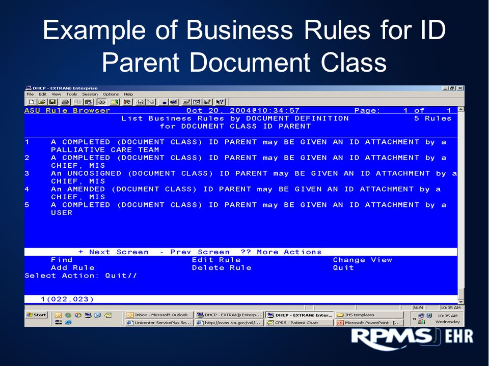 Example of Business Rules for ID Parent Document Class