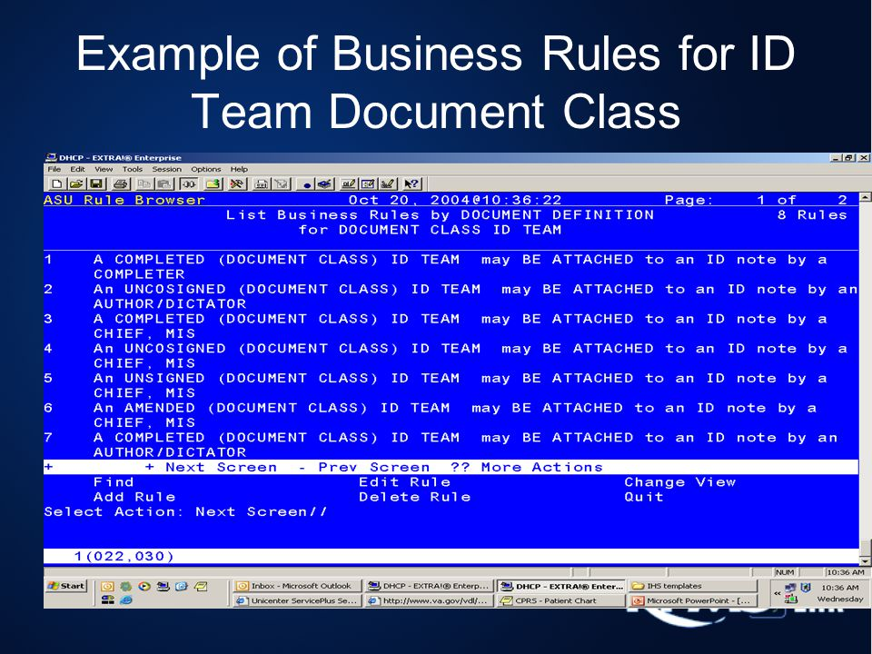 Example of Business Rules for ID Team Document Class