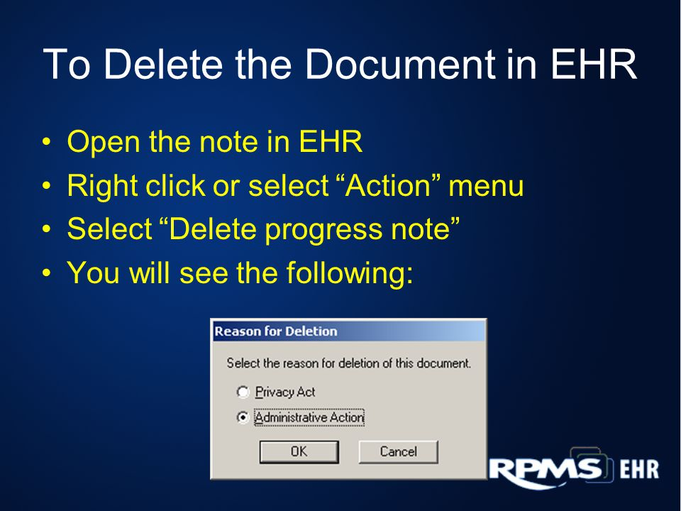 To Delete the Document in EHR
