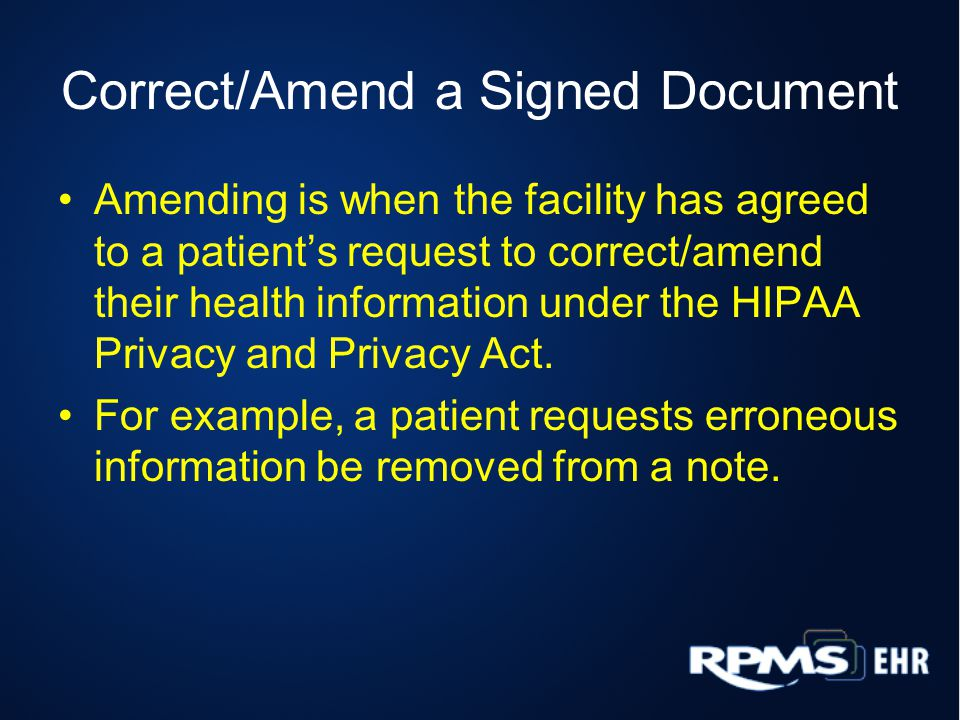 Correct/Amend a Signed Document
