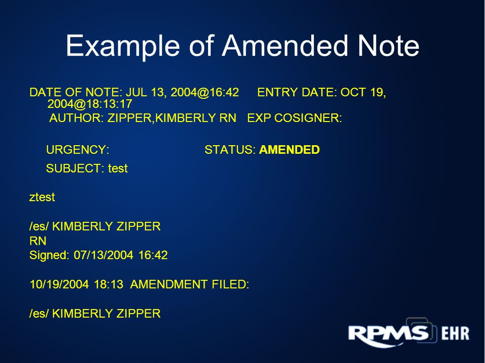 Example of Amended Note