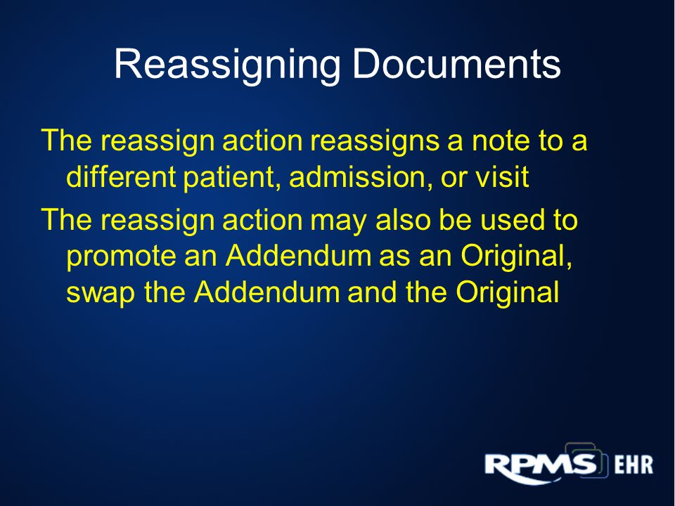 Reassigning Documents