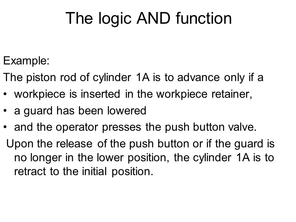 The logic AND function Example: