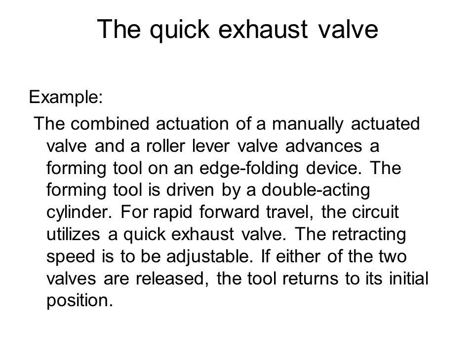 The quick exhaust valve