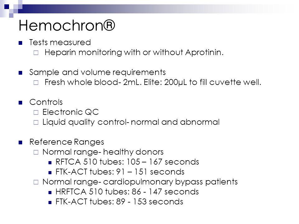 Hemochron® Tests measured