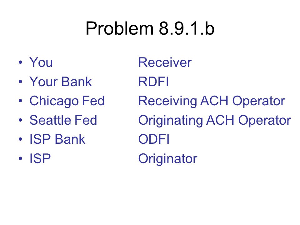 Problem 8.9.1.b You Receiver Your Bank RDFI